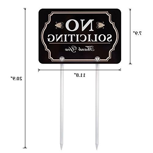 """Kichwit No Soliciting for Yard, All Metal Construction, 11.8"""" x 7.9"""", Long"""