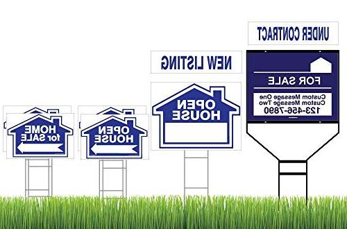 Blue Open House & Home Sale 8 Frame - Customized Sign for Wishbone – 2 Interchangeable Riders - Arrows - Double Lawn Signs