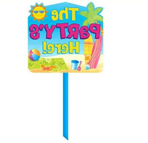 the party s here sign yard sign