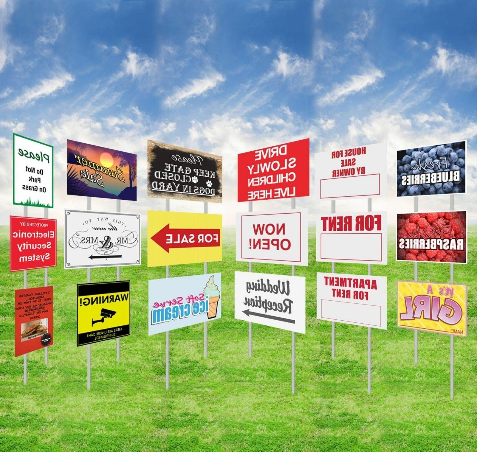 Custom Print Yard Sign+Metal Stakes Outdoor Lawn Double Side