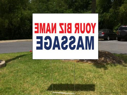 Your Custom Blue Plastic Yard Sign /Free Stakes