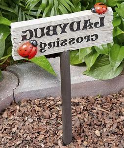 Ladybug Crossing Sign Stake Garden Flowerbed Yard Lawn Outdo
