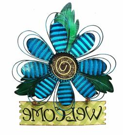 Large Metal Hanging Blue Flower Welcome Sign Wall Art Kitche