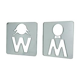 Male & Female Toilet Door or Wall Sign Mirrors 9cm x 9.5cm E