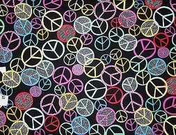 Mask Fabric Peace Sign Hippie Retro Black Pink Blue Yellow 1