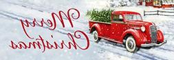 merry christmas red truck sign