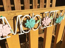 Metal Hanging Flower Welcome Sign Wall Art Yard Outdoor Pati