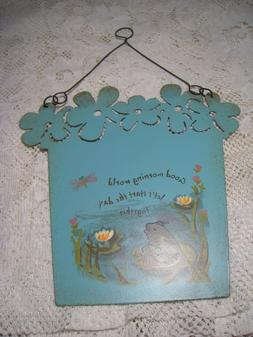 metal hanging yard garden art sign hand