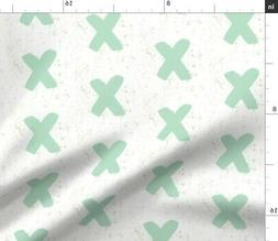 Mint Cross Watercolor Plus Sign Baby Geometric Fabric Printe