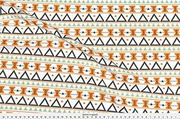 Spoonflower Mint Green Fabric Tribal In Orange, Mint, And Ch