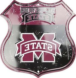 """Mississippi State Bulldogs Highway 12"""" x 12"""" Embossed Metal"""