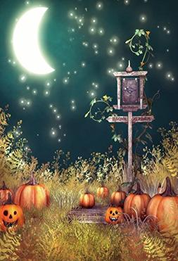 Baocicco Moonnight Pumpkin Avenue Background 3x5ft Cotton Po