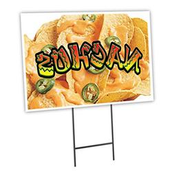 "NACHOS 1 12""x16"" Yard Sign & Stake outdoor plastic coroplast"