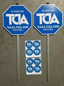 NEW 2 Authentic ADT Security Yard Sign and 8 Window Stickers