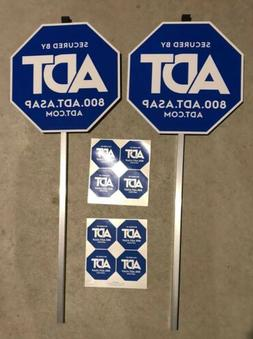 NEW ADT 2 Yard Signs & 8 Window Decals Stickers Security Ala