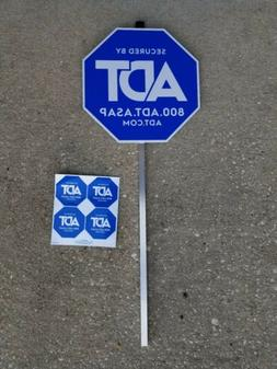 NEW  Authentic ADT Security Yard Sign and 4 Double Sided Win