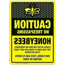 No Trespassing Honeybees at Work Sign. Bee Yard Sign. No Tre