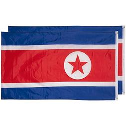Juvale North Korea Flags - Pack of 2 North Korean Flags - 3