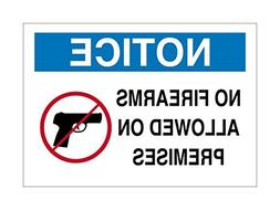 Notice No FIREARMS ALLOWED ON Premises Sign White Blue Black