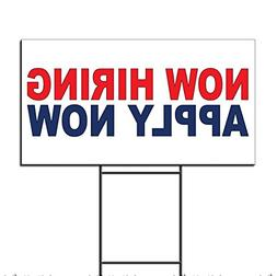 Now Hiring Apply Now Red Blue Corrugated Plastic Yard Sign /
