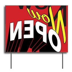 """Now Open Curbside Sign, 24""""w x 18""""h, Full Color Double Sided"""