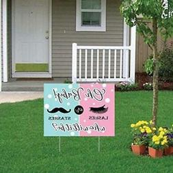 Oh Baby! lashes or Stashes - Gender Reveal Yard Sign Party D