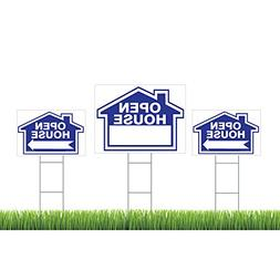 3-Pack Open House Sign Kit - Double Sided Signs & H-Stakes -