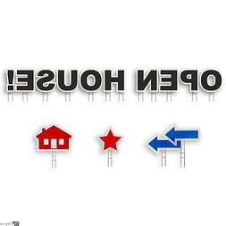 Yard Card OPEN HOUSE Real Estate All-Weather 14 Sign Kit w H