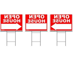 Large OPEN HOUSE Sign Kit with Tall Stands - Yard Sign Bundl