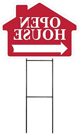 OPEN HOUSE Sign Kit with Arrow - House Shape Corrugated Sign