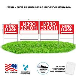 Open House Signs With Stands - Premium Yard Sign Bundle For