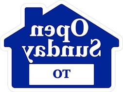 OPEN SUNDAY Sign with Area for Time - Blue House Shape Corru
