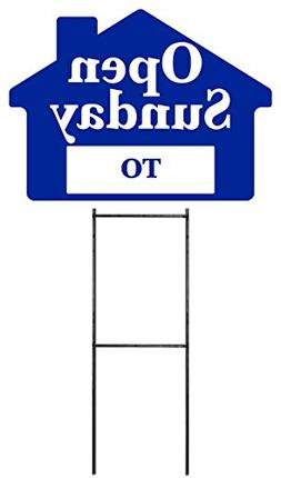 OPEN SUNDAY Sign Kit with Area for Time - Blue House Shape C