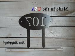 Oval Address Sign with Yard stakes, Garden Decor HN1099
