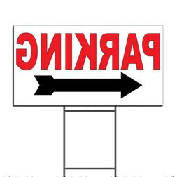 Parking Arrow Left Corrugated Plastic Yard Sign /Free Stakes