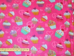 Peace Sign Cupcakes On Dark Pink Fleece Fabric  by the Yard