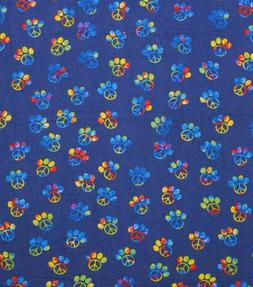 PEACE SIGN DOG PAW TIE DYE ON BLUE FLANNEL FABRIC BY THE H