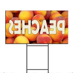 Peaches Restaurant Food Bar Corrugated Plastic Yard Sign /FR