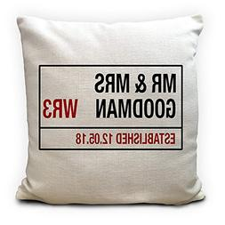 Personalised Wedding Cushion Cover Mr And Mrs Road Sign Marr