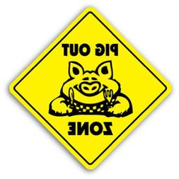 Novelty Sign Gift Pig Out Zone Sign Bbq Barbeque Pork Sauce