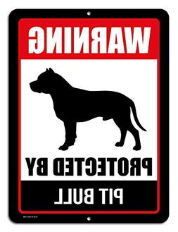Honey Dew Gifts Pitbull Sign Warning Protected By Pit Bull 9