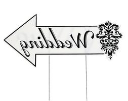 """Plastic Wedding Directional Sign - 20 1/2"""" X 9 1/2"""" Sign Is"""