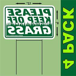"""PLEASE KEEP OFF THE GRASS 4 PACK-White 12""""X8"""" Plastic Coropl"""