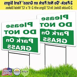 2 Pack 9x12 Please Do Not Park on the Grass Lawn Signs with