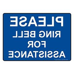 Please Ring Bell For Assistance Sign 10 x 7 inch Blue Metal