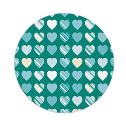iPrint Polyester Round Tablecloth,Romance,Heart Figures Love