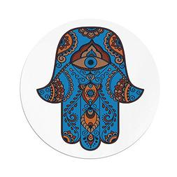 iPrint Polyester Round Tablecloth,Hamsa,Sign Protection Curl