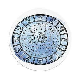 iPrint Polyester Round Tablecloth,Sun and Moon,Astrology Cir