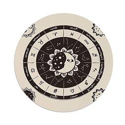 iPrint Polyester Round Tablecloth,Constellation,Zodiac Signs