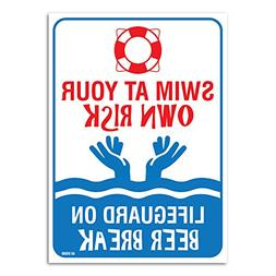 Pool Signs - Swim At Your Own Risk Pool Sign - Pool Rules -